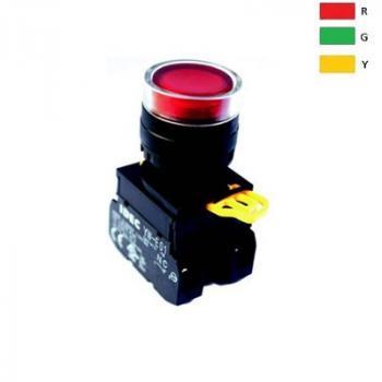 Nút nhấn có đèn, loại phẳng, IP 65 ngoài mặt tủ